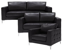 Kacey Black Bonded Leather Living Room