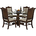 Dark Tone Round Table & 4 Upholstered Chairs