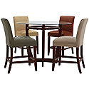 Round Glass High Table & 4 Barstools