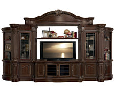 Regal Dark Tone Large Entertainment Wall with Corners