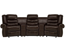 Peyton2 Dk Brown Leather & Vinyl Small Manually Reclining Home Theater Sectional