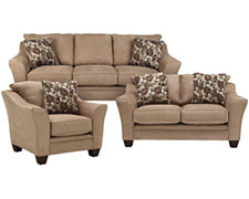 Drew2 Lt Brown Microfiber Living Room