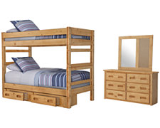 Cinnamon Mid Tone Bunkbed Storage Bedroom