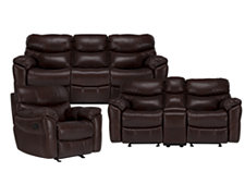 Derek Dk Brown Leather & Vinyl Manually Reclining Living Room