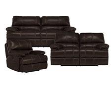 Alton2 Dk Brown Leather & Vinyl Manually Reclining Living Room