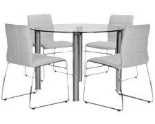 Napoli White Round Table & 4 Chairs