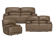 Benson Dk Taupe Leather & Vinyl Manually Reclining Living Room