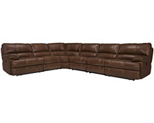 Alton2 Md Brown Leather & Vinyl Large Two-Arm Manually Reclining Sectional