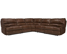 Alton2 Md Brown Leather & Vinyl Small Two-Arm Power Reclining Sectional