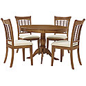 Mid Tone Round Table & 4 Chairs