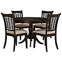 Dark Tone Round Table & 4 Chairs