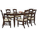 Dark Tone Rectangular Table & 4 Wood Chairs