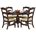 Dark Tone Round Table & 4 Wood Chairs