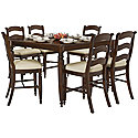 Dark Tone High Table & 4 Wood Barstools
