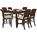 Dark Tone Woven High Table & 4 Barstools
