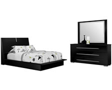 Dimora2 Black Wood Platform Bedroom