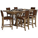 Light Tone High Table & 4 Upholstered Barstools
