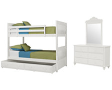 Lauren White Bunkbed Trundle Bedroom