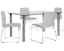 Napoli White Rectangular Table & 4 Chairs