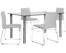 Napoli White Rectangular Table & 4 Chairs