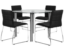Napoli Black Round Table & 4 Chairs