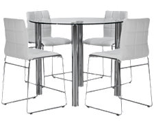 Napoli White Round High Table & 4 Barstools
