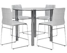 Napoli White Round High Table & 4 Barstools