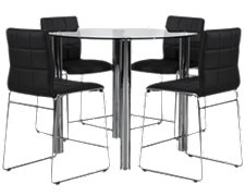 Napoli Black Round High Table & 4 Barstools