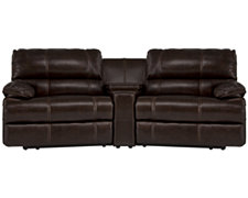 Alton2 Dk Brown Leather & Vinyl Small Power Reclining Home Theater Sectional