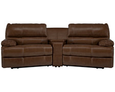 Alton2 Md Brown Leather & Vinyl Small Manually Reclining Home Theater Sectional