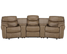 Derek Dk Taupe Leather & Vinyl Small Manually Reclining Home Theater Sectional