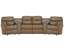 Derek Dk Taupe Leather & Vinyl Large Manually Reclining Home Theater Sectional
