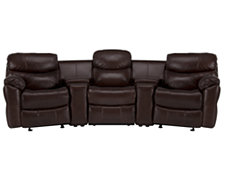 Derek Dk Brown Leather & Vinyl Small Manually Reclining Home Theater Sectional