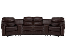 Derek Dk Brown Leather & Vinyl Large Manually Reclining Home Theater Sectional