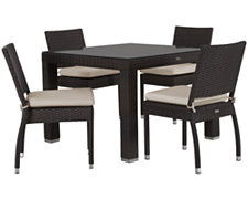 "Zen2 White 40"" Square Table & 4 Cushioned Chairs"