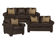 Tori Dk Brown Bonded Leather Living Room