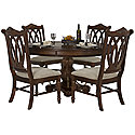 Dark Tone Marble Table & 4 Wood Chairs