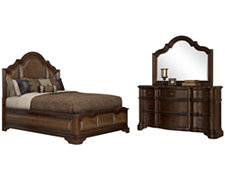 Regency Dark Tone Upholstered Platform Bedroom