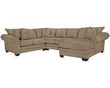 Jesi3 Dk Taupe Microfiber Small Right Chaise Sectional