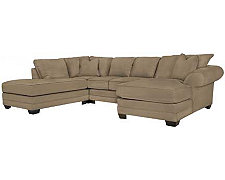 Jesi3 Dk Taupe Microfiber Small Left Bumper Sectional