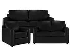 Paige Black Bonded Leather Living Room