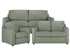 Paige Green Bonded Leather Living Room