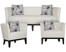 Sasha White Microfiber Living Room