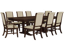 Canyon Mid Tone Trestle Table & 4 Upholstered Chairs