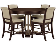 Canyon Mid Tone Round High Table & 4 Upholstered Barstools