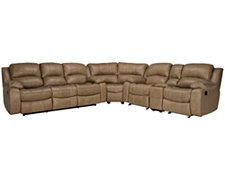 Tyler3 Dk Taupe Leather & Vinyl Two-Arm Manually Reclining Sectional