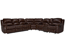 Tyler3 Md Brown Leather & Vinyl Two-Arm Manually Reclining Sectional