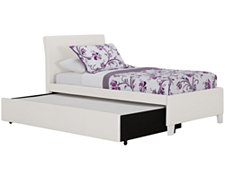 Fantasia White Upholstered Platform Storage Bed