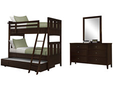Liam Dark Tone Bunkbed Trundle Bedroom
