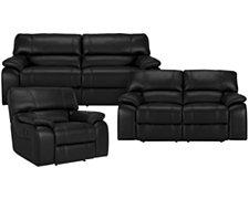 Paloma Black Leather & Vinyl Power Reclining Living Room
